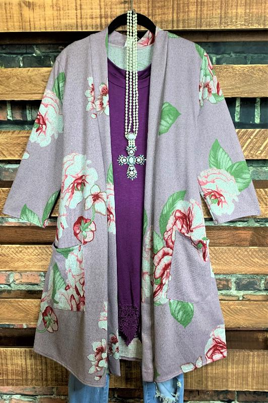 FLEECE SOFT FLORAL CARDIGAN WITH POCKET IN LAVENDER----PLUS SIZE----sale
