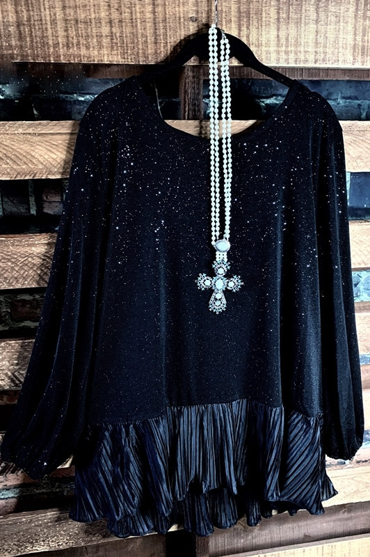 Sparks Glamour HOLIDAY Tunic/Blouse in Black Regular & Plus size,