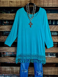 MY FANCY T-SHIRT TUNIC FRINGE LACE IN MINT