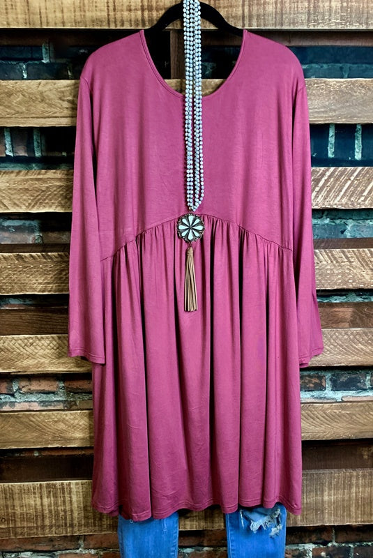 TOUCH OF SWEET LONG SLEEVE EMPIRE WAIST DRESS IN BLUSH