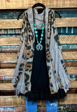 GYPSY-BOHO CHIC SHABBY OVERSIZED VEST IN LEOPARD & GRAY
