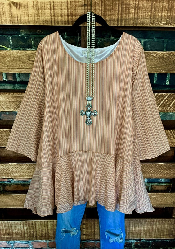 ALWAYS LOOKING FAB TUNIC IN LIGHT RUST STRIPE MIX------------sale