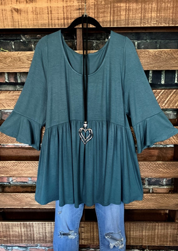 LET'S GO TO TOWN CASUAL COMFY TUNIC BABYDOLL IN ANTIQUE BLUE