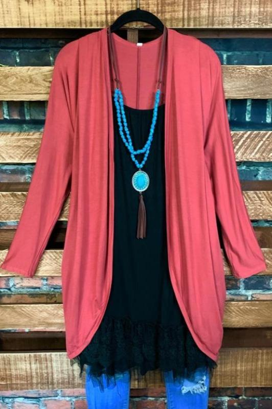DOLMAN SLEEVE CARDIGAN IN MARSALA