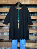 WHEREVER YOU GO LACE PRETTY T-SHIRT TUNIC IN BLACK