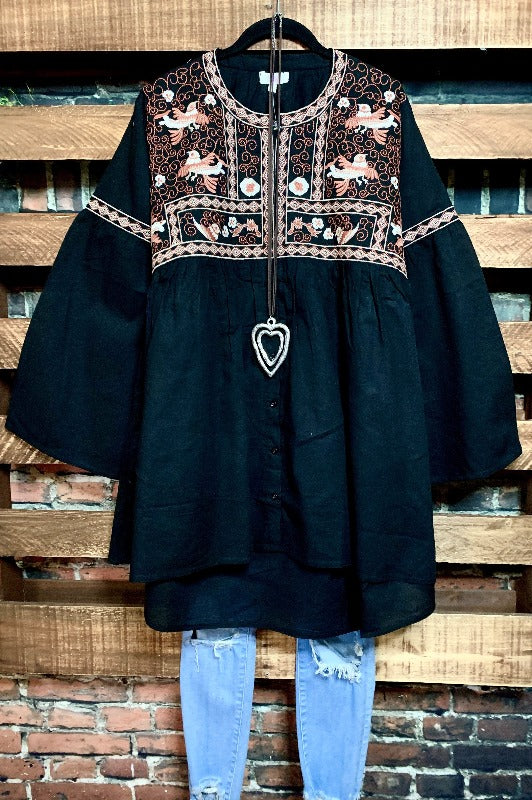 GYPSY NYGHT HIPPIE CHIC OVERSIZED EMBROIDERED BABYDOLL DRESS IN BLACK