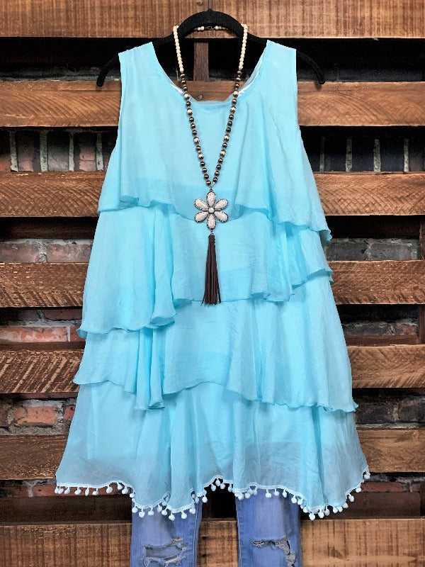 OH MY GODDESS DRESS TUNIC IN AQUA BLUE S-2X