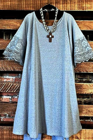 SWEET CHARM TANK LACE EMBROIDERED TUNIC IN TURQUOISE XL-3X