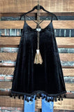 BEST OF MY LOVE FRINGE VELVET DRESS IN BLACK