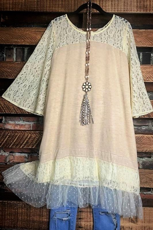 DOWNTOWN ROMANCE  VINTAGE-INSPIRED MINI DRESS-TUNIC IN BEIGE