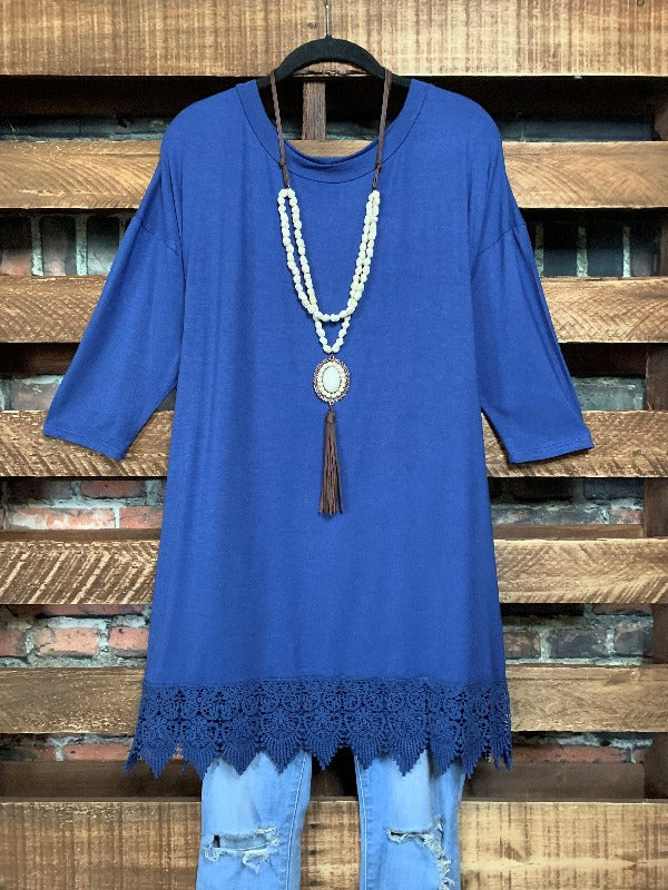 WHEREVER YOU GO LACE PRETTY T-SHIRT TUNIC IN DENIM BLUE