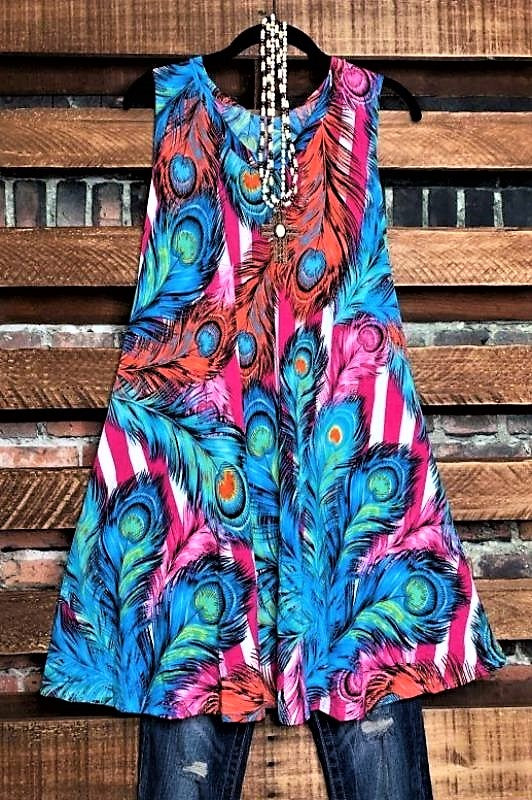 mult color feather top dress