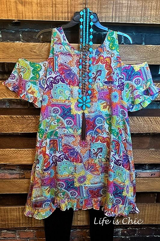THIS IS HAPPINESS MULTI PRINT TUNIC IN MULTI-COLOR