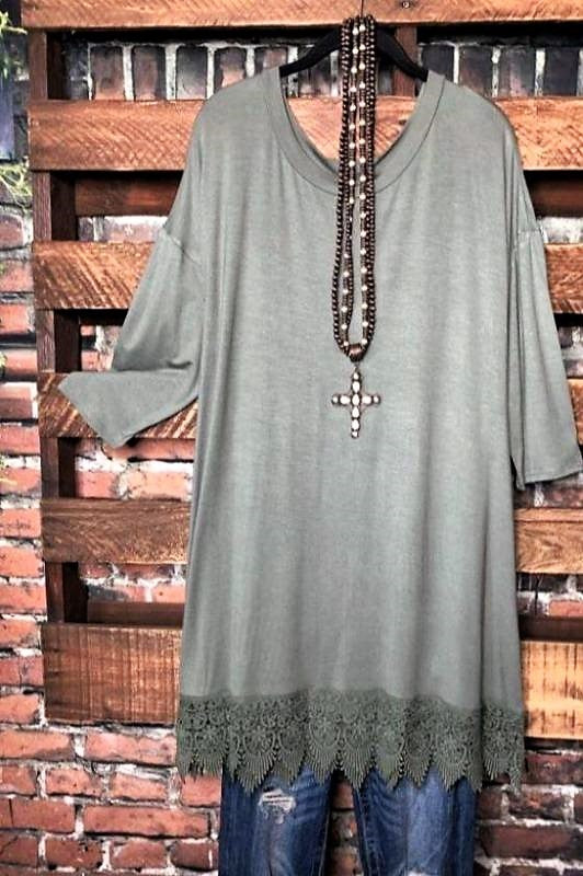 WHEREVER YOU GO LACE T-SHIRT TUNIC IN OLIVE