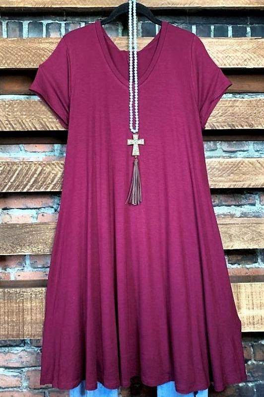 ADORABLY YOURS DRESS IN BURGUNDY