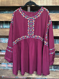 BY THE LIGHT OF THE MOON EMBROIDERED BABYDOLL IN BURGUNDY