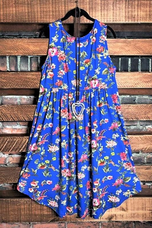 THE BRIGHTER SIDE FLORAL DRESS IN ROYAL BLUE