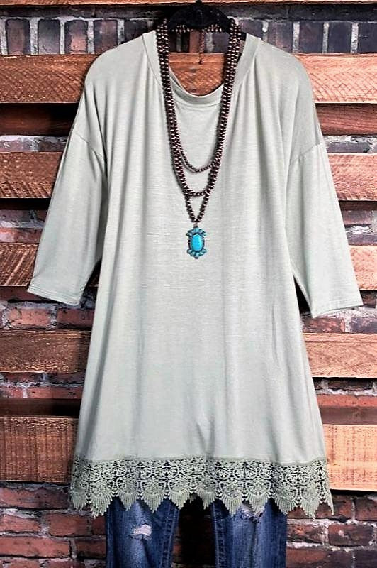 WHEREVER YOU GO LACE PRETTY T-SHIRT TUNIC IN SAGE
