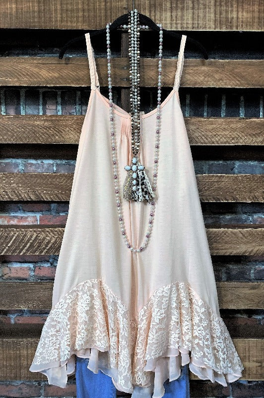 ROMANCE IS IN THE AIR LACE SLIP LAYERING DRESS IN PEACH