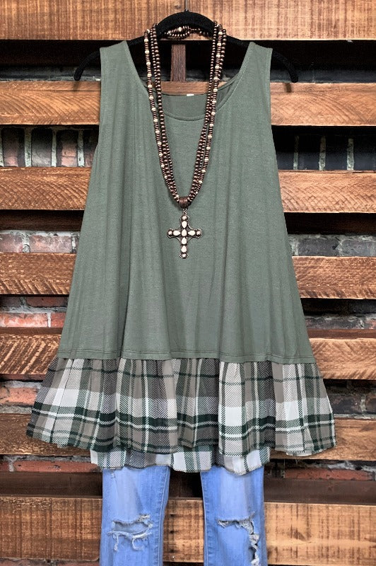 tank top olive sleeveless plus size