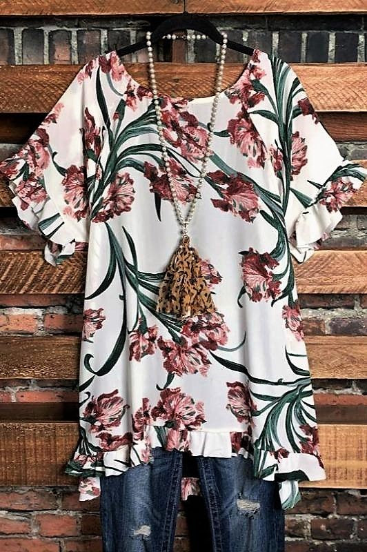 top floral ivory plus size