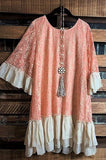 RECORD BEAUTY LACE RUFFLE TOP IN PEACH