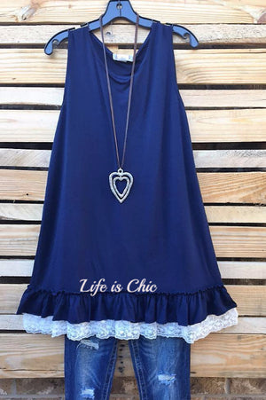 CASUAL CHARM T-SHIRT TUNIC - NAVY [product vendor] - Life is Chic Boutique