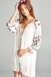 WHITE SANDS BOHO-HIPPIE EMBROIDERED DRESS IN WHITE-------sale