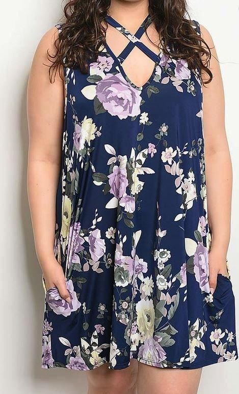GIVE ME HOPE NAVY FLORAL DRESS [product vendor] - Life is Chic Boutique