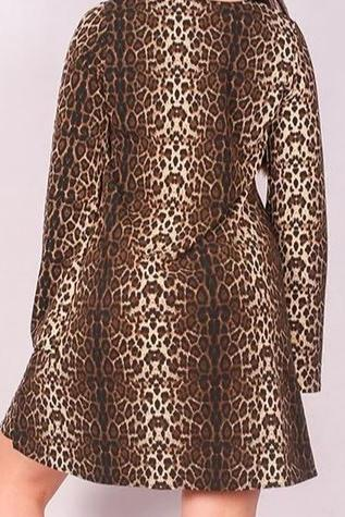 FOUND YOUR LOVE BROWN ANIMAL PRINT DRESS-----sale