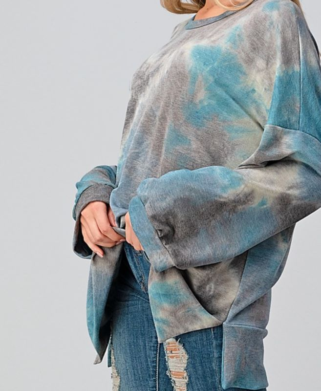 HOLDING OUT HOPE TIE DYE COZY SWEATSHIRT OVERSIZED TUNIC IN GRAY & TEAL