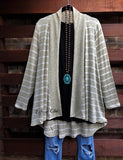 EVERYDAY CLASSIC DUSTER STRIPED CARDIGAN IN SAGE MULTI