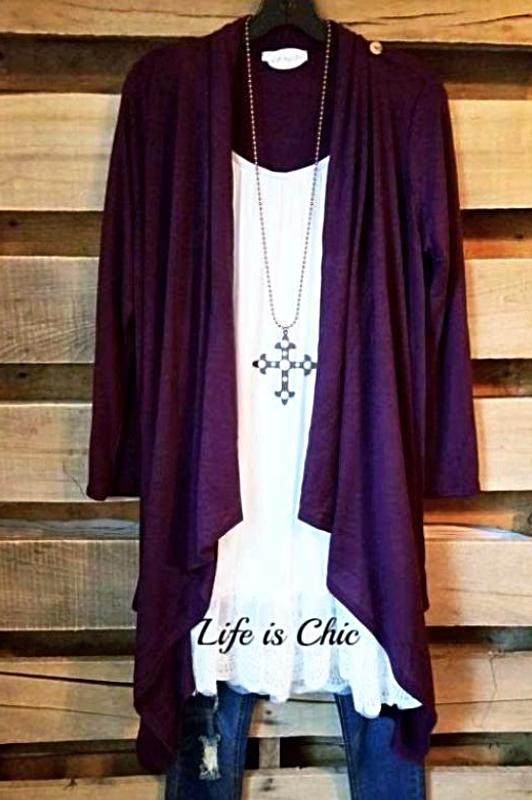 JUST LIKE THAT A CARDIGAN SWEATER - VIOLET [product vendor] - Life is Chic Boutique