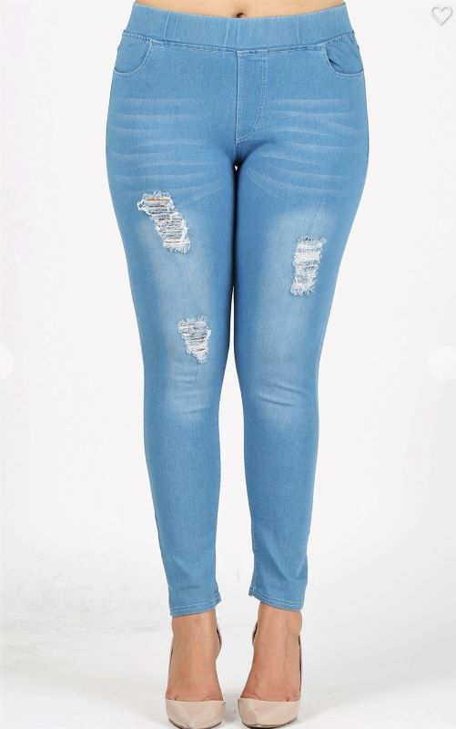 DOWNTOWN STYLE DISTRESSED SKINNY JEGGINGS LIGHT BLUE XL-3X