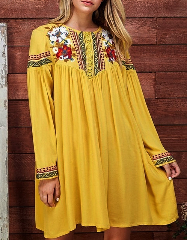 CAPRI SUN GOOD VIBES EMBROIDERED DRESS IN MUSTARD