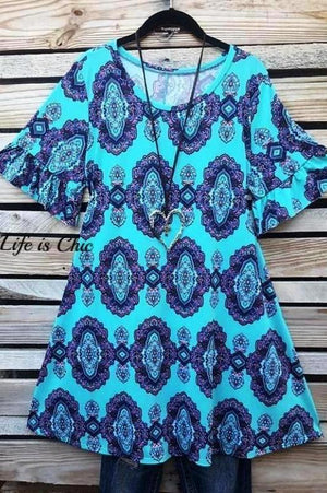 CHANGE YOUR HEART TUNIC IN TEAL - sale [product vendor] - Life is Chic Boutique