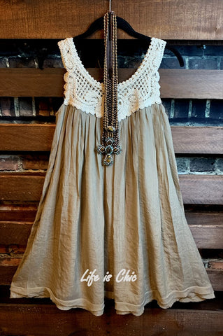 DOLCE AURA BOHO CROCHET SHABBY DRESS IN BEIGE