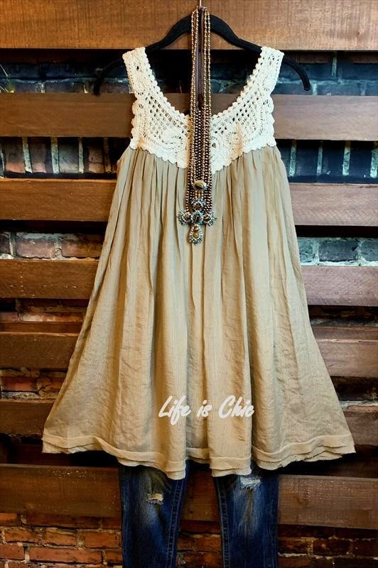 ROMANTIC VIBES BOHO CROCHET SHABBY DRESS IN MOCHA S-XL------sale
