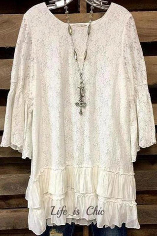 ALL THE LOVE I NEED LACE TUNIC IN LAVENDER