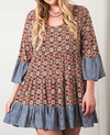 BOHO WEEKEND CHILL MIX PRINT DRESS IN RED & BROWN
