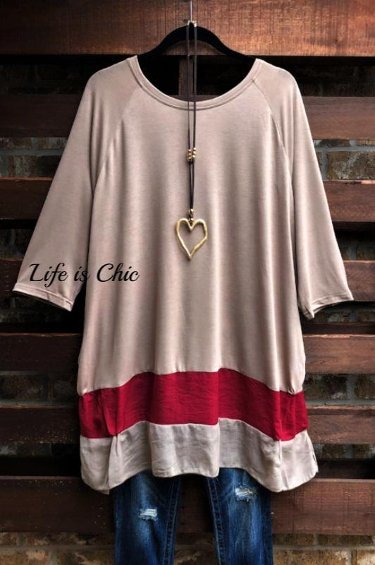 KEEP ME FOREVER EMBELLISHED COMFY T-TOP IN TAUPE