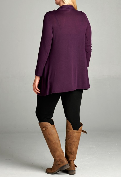 JUST LIKE THAT A CARDIGAN SWEATER TUNIC EGGPLANT [product vendor] - Life is Chic Boutique