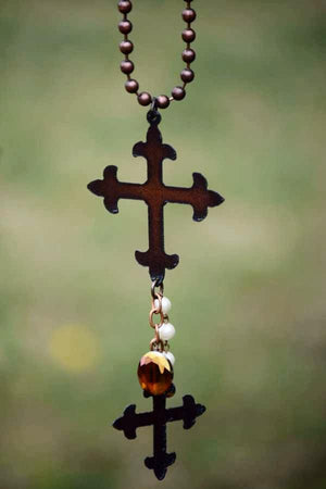 BOHEMIAN RUSTIC CROSS NECKLACE