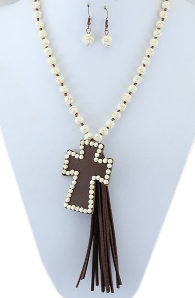 BOHO TASSEL IVORY BEADED BROWN CROSS NECKLACE