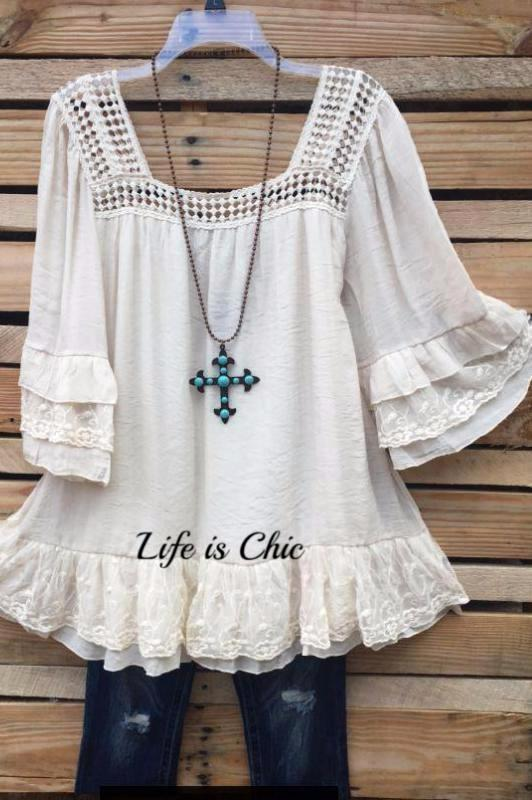 CIAO AMORE LACE CROCHET TOP IN BEIGE [product vendor] - Life is Chic Boutique