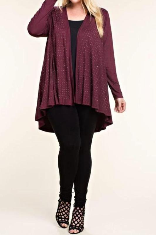 LET'S GO OUT IN STYLE EMBELLISHED WITH STONES CARDIGAN IN DEEP PLUM [product vendor] - Life is Chic Boutique
