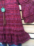VICTORIAN LACE RED GRAPE LINED TOP/BLOUSE [product vendor] - Life is Chic Boutique