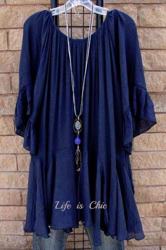 BOHO- HIPPIE SWING OVERSIZED TUNIC IN NAVY BLUE [product vendor] - Life is Chic Boutique