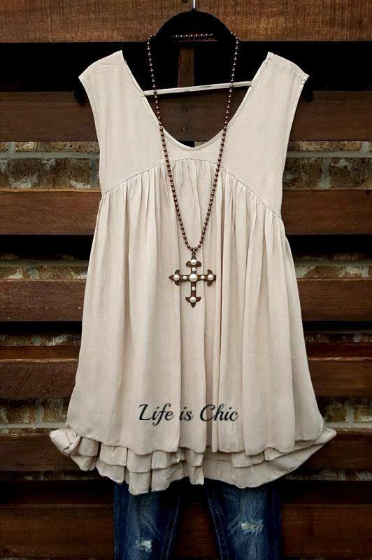 GO GIRL TOP TANK LAYERING PEASANT IN TAUPE [product vendor] - Life is Chic Boutique