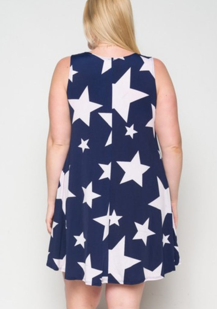 STARS IN THE SKY TONIGHT DRESS IN NAVY & WHITE